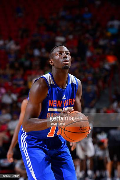 Jerian Grant of the New York Knicks shoots against the San Antonio Spurs during the game on July 11 2015 at Thomas Mack Center Las Vegas Nevada NOTE...