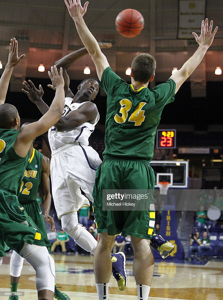 Jerian Grant #22 of the Notre Dame Fighting Irish does a behind the back pass during the game North Dakota State Bison at Purcel Pavilion on December 11, 2013 in South Bend, Indiana. North Dakota State defeated Notre Dame 73-69.