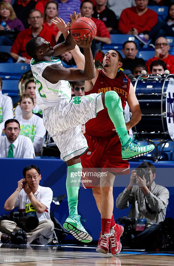 Jerian Grant #22 of the Notre Dame Fighting Irish handles the ball against Georges Niang #31 of the Iowa State Cyclones in the second half during the second round of the 2013 NCAA Men's Basketball Tournament at UD Arena on March 22, 2013 in Dayton, Ohio.