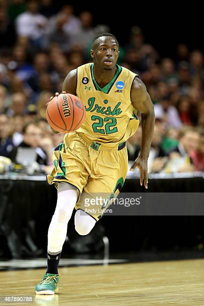 Jerian Grant of the Notre Dame Fighting Irish handles the ball against the Wichita State Shockers during the Midwest Regional semifinal of the 2015...