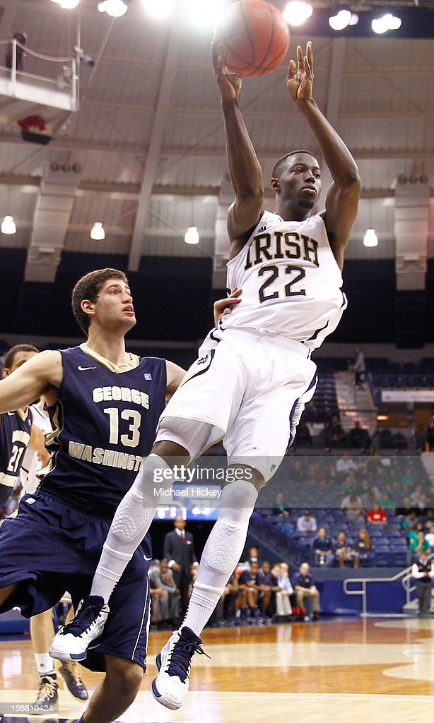 Jerian Grant #22 of the Notre Dame Fighting Irish passes the ball off against the George Washington Colonials at Purcel Pavilion on November 21, 2012 in South Bend, Indiana. Notre Dame defeated George Washington 65-48.