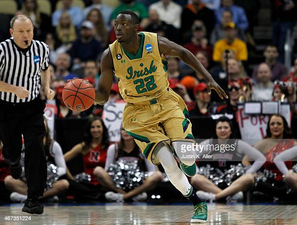 Jerian Grant of the Notre Dame Fighting Irish plays against the Northeastern Huskies during the second round of the 2015 NCAA Men's Basketball...