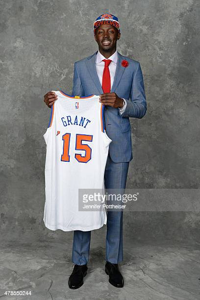 Jerian Grant poses for a portrait after being traded to the New York Knicks during the 2015 NBA Draft at the Barclays Center on June 25 2015 in the...