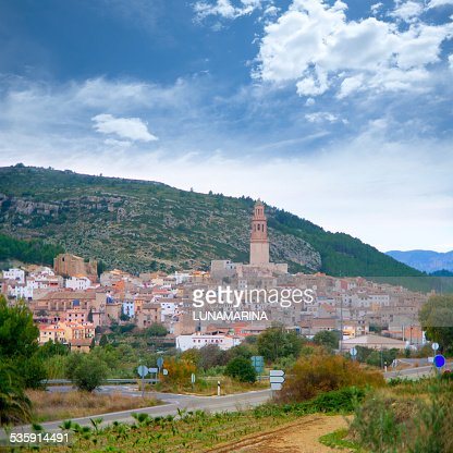 Aldeia Jerica Castellon Vista da cidade em Espanha : Foto de stock