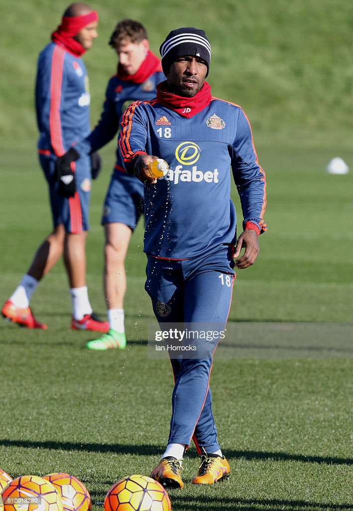 Jermain Defoe during a Sunderland AFC training session at the Academy of Light on February 24, 2016 in Sunderland, England.