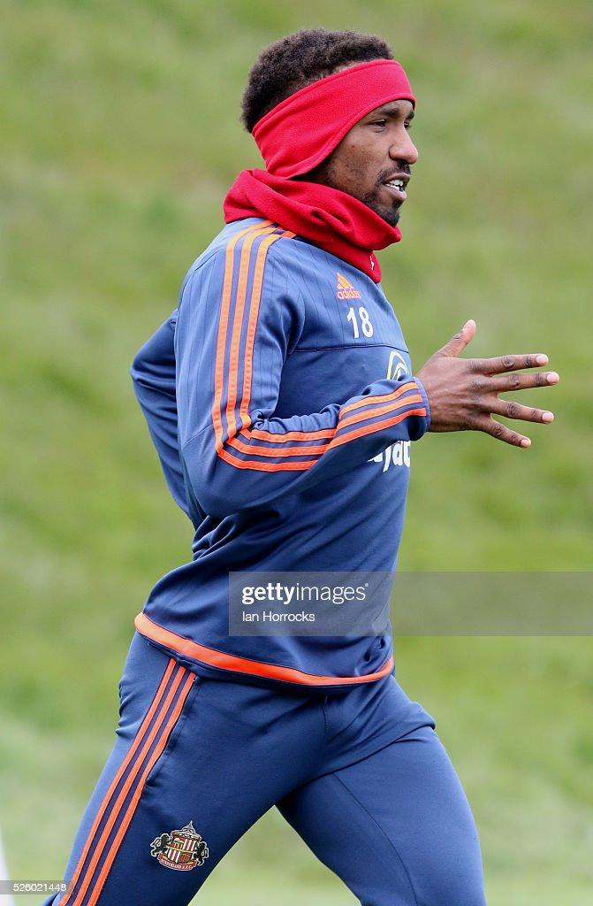Jermain Defoe during a Sunderland AFC training session at The Academy of Light on April 29, 2016 in Sunderland, England.
