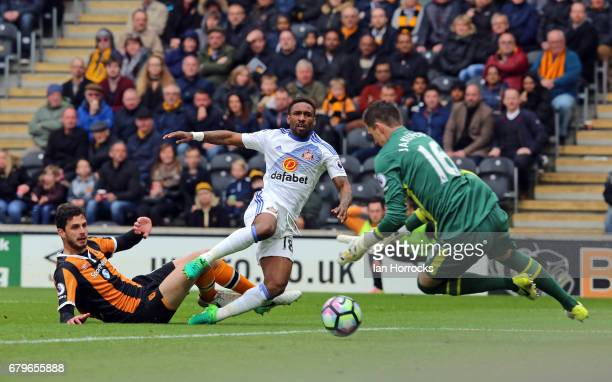 Jermain Defoe has his effort saved by Hull keeper Eldin Jakupovic during the Premier League match between Hull City and Sunderland at KCOM Stadium on...