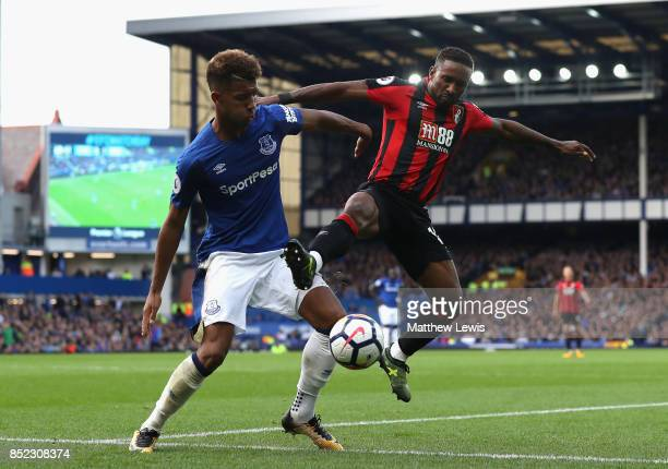 Jermain Defoe of AFC Bournemouth and Mason Holgate of Everton compete for the ball during the Premier League match between Everton and AFC...