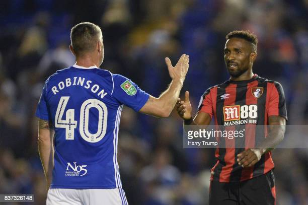Jermain Defoe of AFC Bournemouth and Paul Robinson of Birmingham City shake hands after the Carabao Cup Second Round match between Birmingham City...