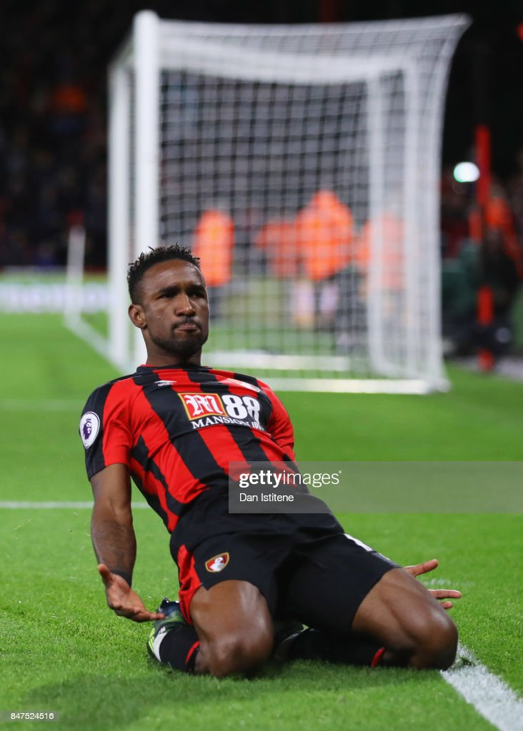 Jermain Defoe of AFC Bournemouth (18) celebrates as he scores their second goal during the Premier League match between AFC Bournemouth and Brighton and Hove Albion at Vitality Stadium on September 15, 2017 in Bournemouth, England.