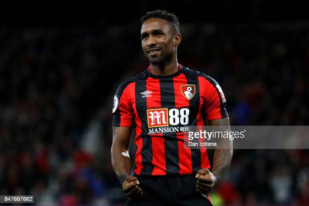 Jermain Defoe of AFC Bournemouth celebrates scoring his team's second goal during the Premier League match between AFC Bournemouth and Brighton and...