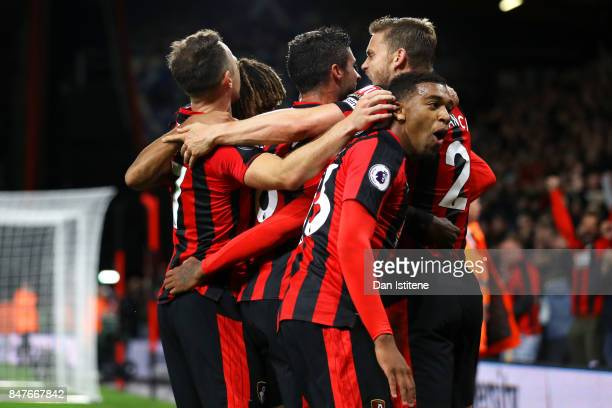 Jermain Defoe of AFC Bournemouth celebrates with teammates including Jordan Ibe after scoring his team's second goal during the Premier League match...