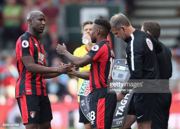 Jermain Defoe of AFC Bournemouth comes on for Benik Afobe of AFC Bournemouth during the Premier League match between AFC Bournemouth and Watford at...
