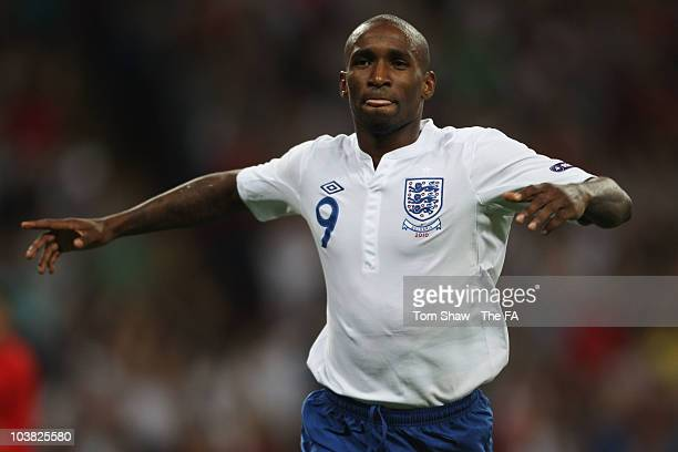 Jermain Defoe of England celebrates scoring his second goal during the UEFA EURO 2012 Group G Qualifying match between England and Bulgaria at...