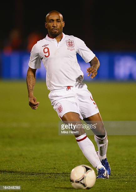 Jermain Defoe of England in action during the FIFA 2014 World Cup Qualifier Group H match between San Marino and England at Serravalle Stadium on...