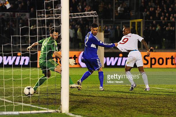 Jermain Defoe of England scores his second goal during the FIFA 2014 World Cup Qualifier Group H match between San Marino and England at Serravalle...