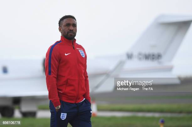 Jermain Defoe of England walks to the plane as he leaves for the International Friendly match against Germany at Birmingham Airport on March 21 2017...