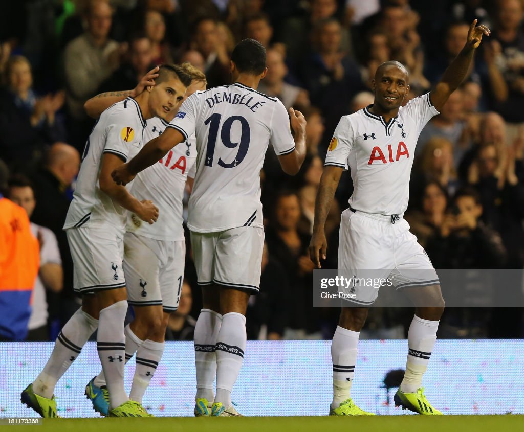 <a gi-track='captionPersonalityLinkClicked' href=/galleries/search?phrase=Jermain+Defoe&family=editorial&specificpeople=171106 ng-click='$event.stopPropagation()'>Jermain Defoe</a> of Spurs celebrates scoring the opening goal during the UEFA Europa League Group K match between Tottenham Hotspur FC and Tromso IL at White Hart Lane on September 19, 2013 in London, England.
