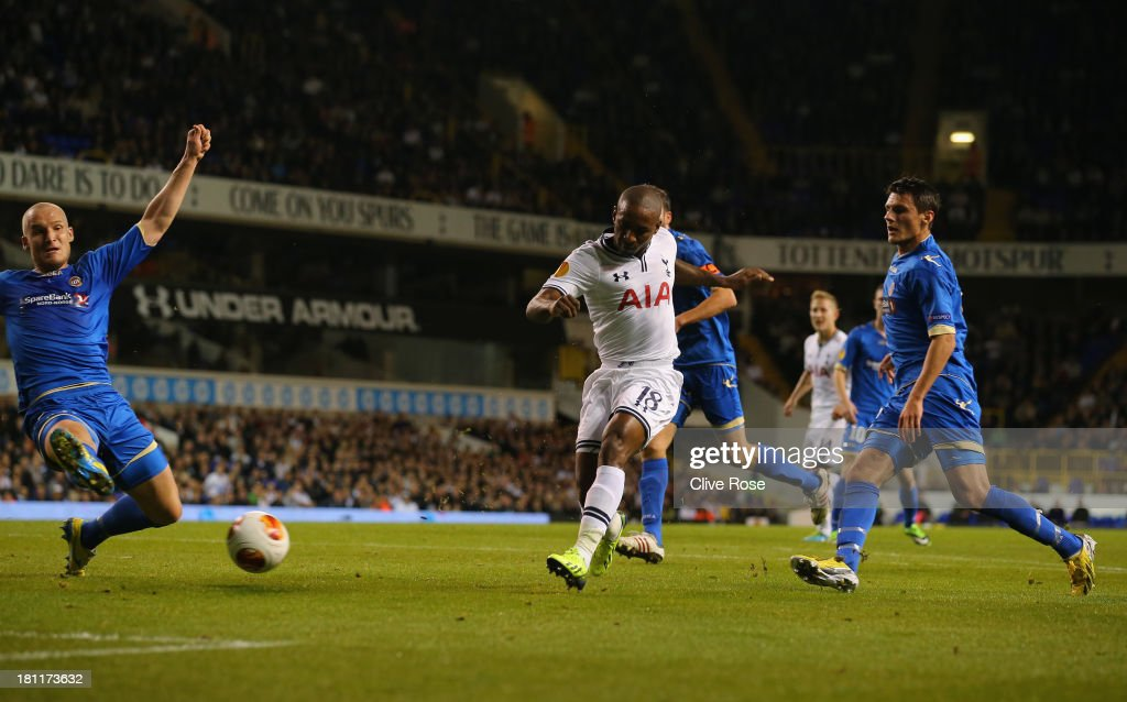 <a gi-track='captionPersonalityLinkClicked' href=/galleries/search?phrase=Jermain+Defoe&family=editorial&specificpeople=171106 ng-click='$event.stopPropagation()'>Jermain Defoe</a> of Spurs scores their second goal during the UEFA Europa League Group K match between Tottenham Hotspur FC and Tromso IL at White Hart Lane on September 19, 2013 in London, England.
