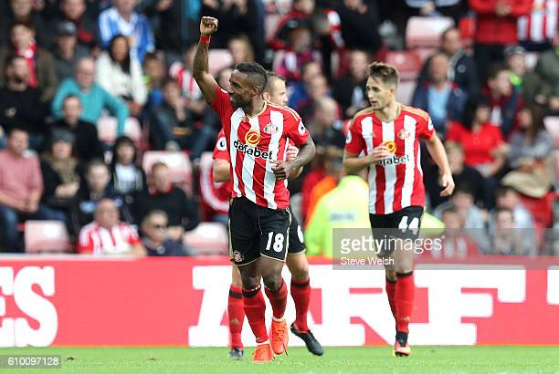 Jermain Defoe of Sunderland celebrates scoring his sides first goal during the Premier League match between Sunderland and Crystal Palace at the...