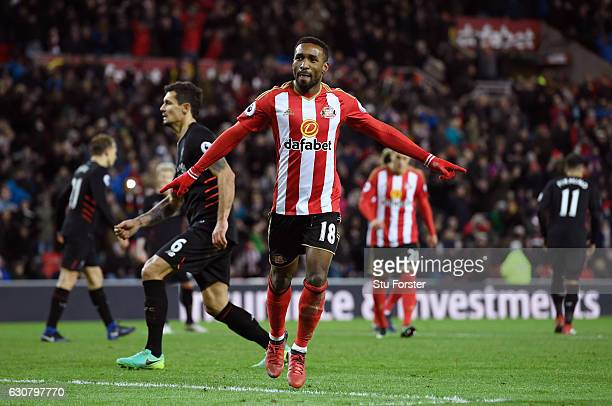 Jermain Defoe of Sunderland celebrates scoring his sides second goal during the Premier League match between Sunderland and Liverpool at Stadium of...