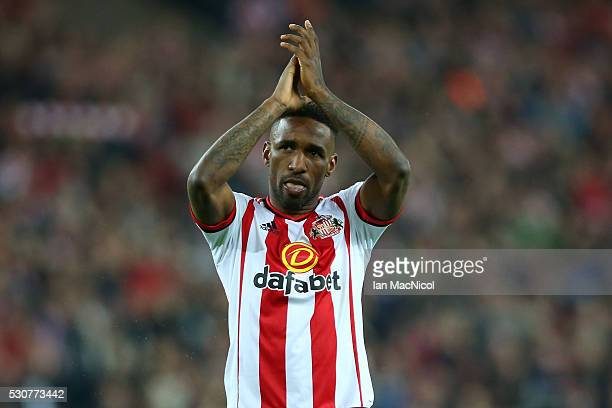 Jermain Defoe of Sunderland celebrates staying in the Premier League after victory during the Barclays Premier League match between Sunderland and...