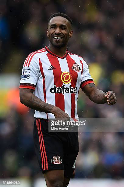 Jermain Defoe of Sunderland in good heart during the Barclays Premier League match between Norwich City and Sunderland at Carrow Road on April 16...