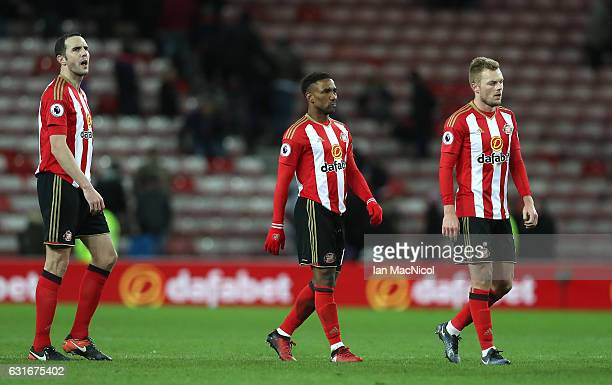 Jermain Defoe of Sunderland is dejected after the Premier League match between Sunderland and Stoke City at Stadium of Light on January 14 2017 in...