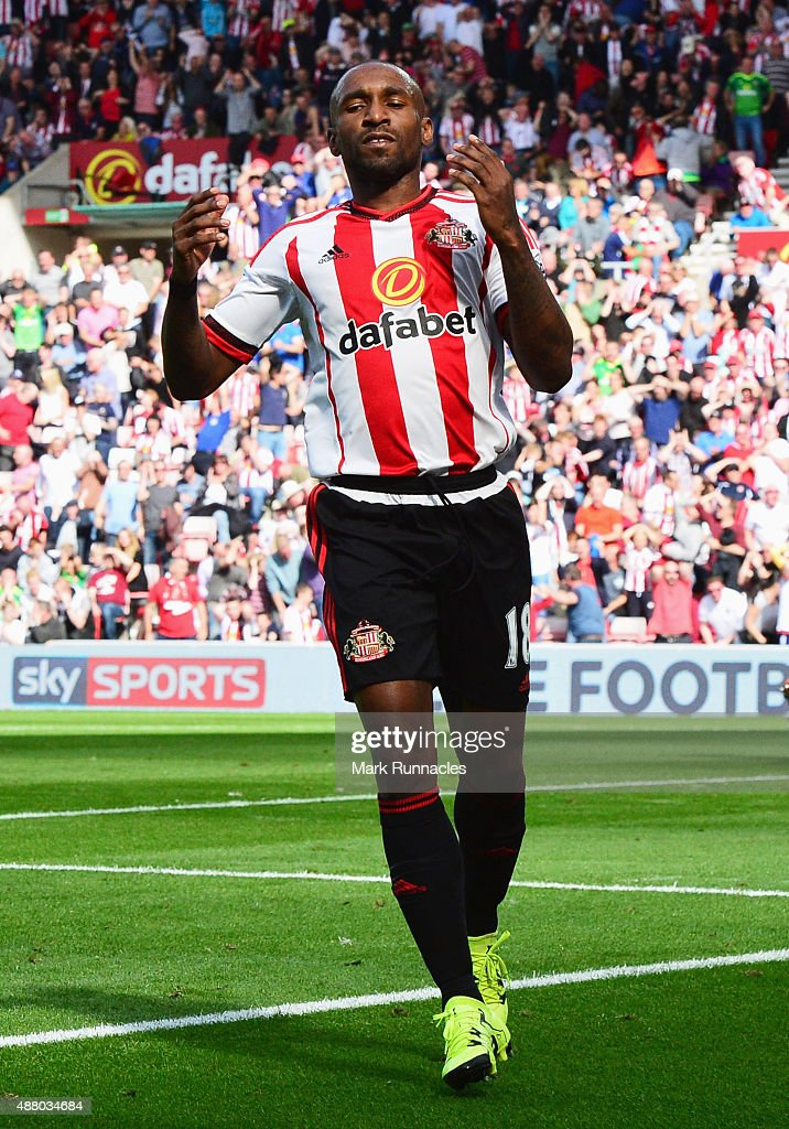Jermain Defoe of Sunderland reacts as his shot hits the post during the Barclays Premier League match between Sunderland and Tottenham Hotspur at the Stadium of Light on September 13, 2015 in Sunderland, United Kingdom.