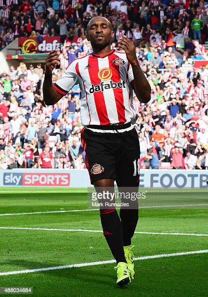 Jermain Defoe of Sunderland reacts as his shot hits the post during the Barclays Premier League match between Sunderland and Tottenham Hotspur at the...