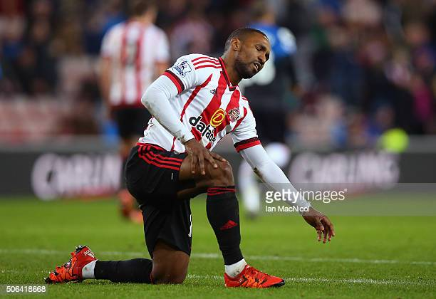 Jermain Defoe of Sunderland reacts during the Barclays Premier League match between Sunderland and AFC Bournemouth at the Stadium of Light on January...