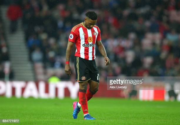 Jermain Defoe of Sunderland reacts during the Premier League match between Sunderland and Southampton at Stadium of Light on February 11 2017 in...