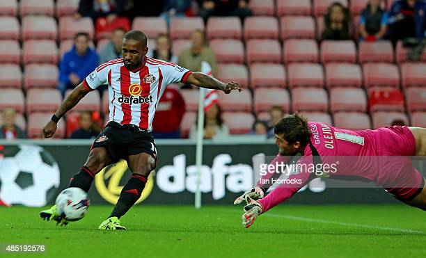 Jermain Defoe of Sunderland scores the second goal during the Capital One Cup second round match between Sunderland AFC and Exeter City at the...