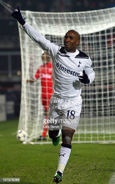 Jermain Defoe of Tottenham celebrates after scoring his teams third goal during the UEFA Champions League Group A match between FC Twente and...