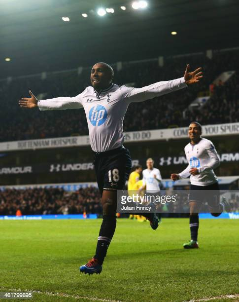 Jermain Defoe of Tottenham Hotspur celebrates his goal during the Barclays Premier League match between Tottenham Hotspur and Crystal Palace at White...