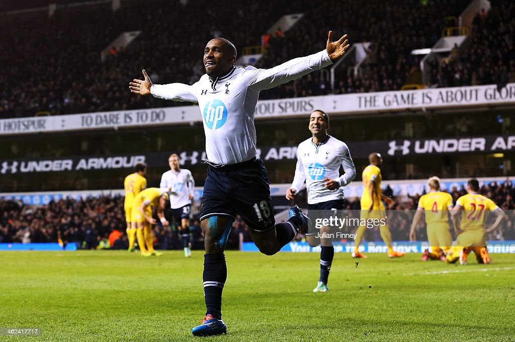 Jermain Defoe of Tottenham Hotspur celebrates his goal during the Barclays Premier League match between Tottenham Hotspur and Crystal Palace at White Hart Lane on January 11, 2014 in London, England.