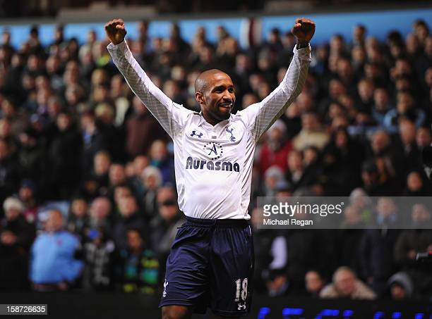 Jermain Defoe of Tottenham Hotspur celebrates the opening goal during the Barclays Premier League match between Aston Villa and Tottenham Hotspur at...