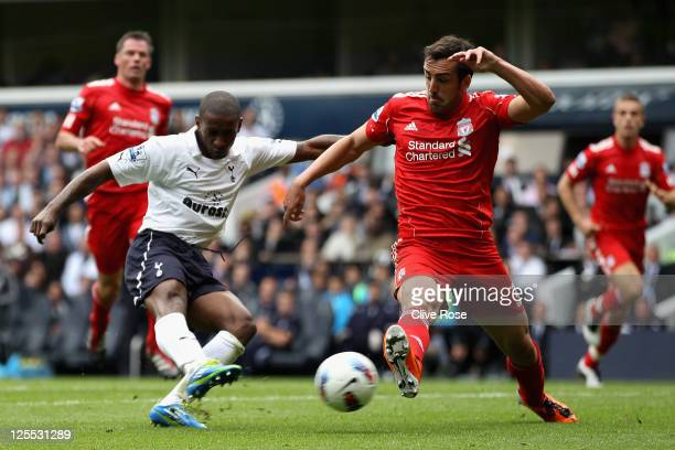 Jermain Defoe of Tottenham Hotspur scores his side's second goal during the Barclays Premier League match between Tottenham Hotspur and Liverpool at...