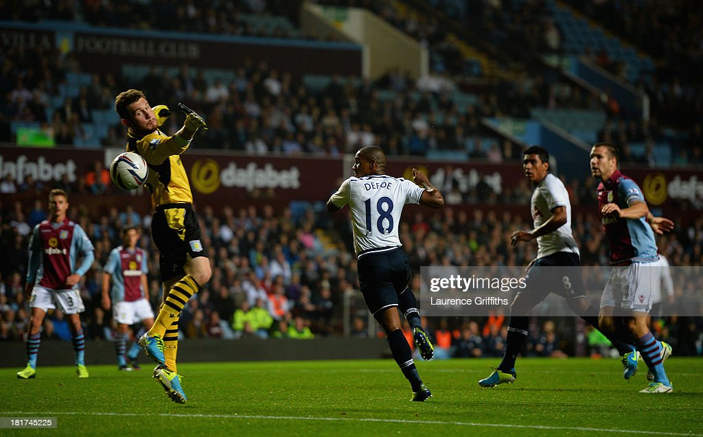<a gi-track='captionPersonalityLinkClicked' href=/galleries/search?phrase=Jermain+Defoe&family=editorial&specificpeople=171106 ng-click='$event.stopPropagation()'>Jermain Defoe</a> of Tottenham Hotspur scores the opening goal past Jed Steer of Aston Villa during the Capital One Cup third round match between Aston Villa and Tottenham Hotspur at Villa Park on September 24, 2013 in Birmingham, England.