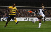 Jermain Defoe of Tottenham Hotspur scores their second goal during the UEFA Champions League playoff second leg match between Tottenham Hotspur and...