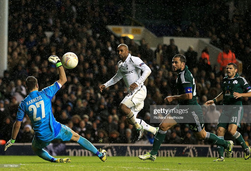 <a gi-track='captionPersonalityLinkClicked' href=/galleries/search?phrase=Jermain+Defoe&family=editorial&specificpeople=171106 ng-click='$event.stopPropagation()'>Jermain Defoe</a> of Tottenham Hotspur scores their third goal past Orestis Karnezis of Panathinaikos during the UEFA Europa League Group J match between Tottenham Hotspur and Panathinaikos at White Hart Lane on December 6, 2012 in London, England.