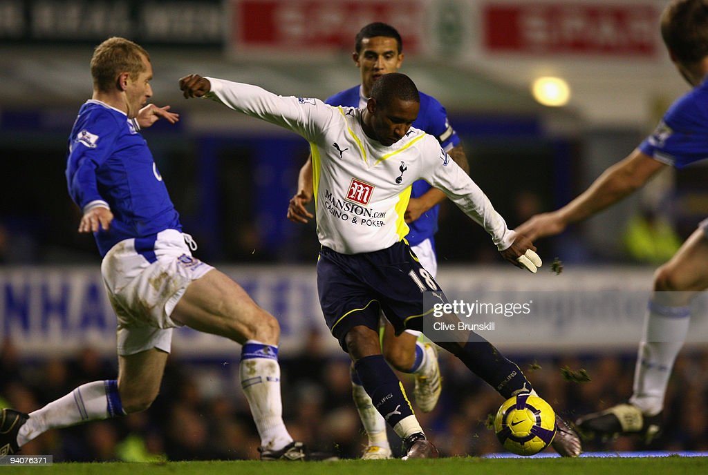 Jermain Defoe of Tottenham Hotspur shoots at goal during the Barclays Premier League match between Everton and Tottenham Hotspur at Goodison Park on December 6, 2009 in Liverpool, England.