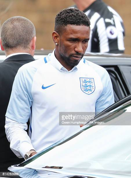 Jermain Defoe outside St Joseph's Church in Blackhall County Durham where the funeral of Bradley Lowery the sixyearold football mascot whose cancer...