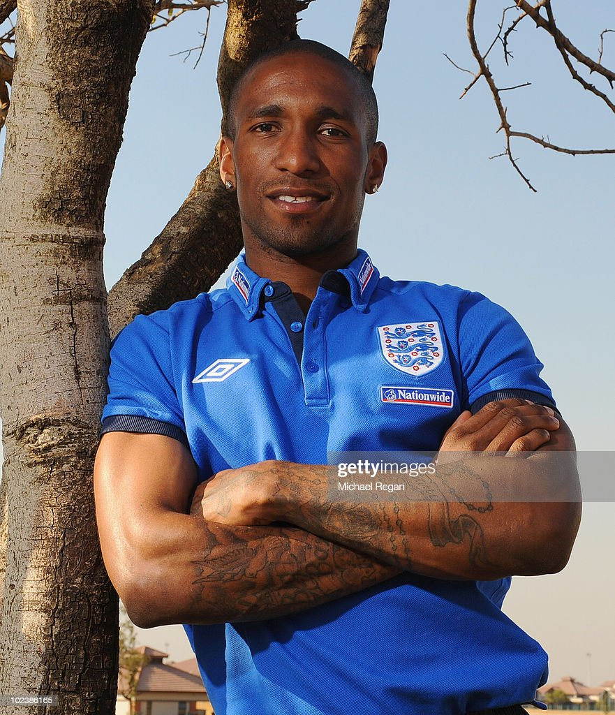 Jermain Defoe poses for a photograph after an England press conference at the Royal Bafokeng Sports Campus on June 24 2010 in Rustenburg South Africa