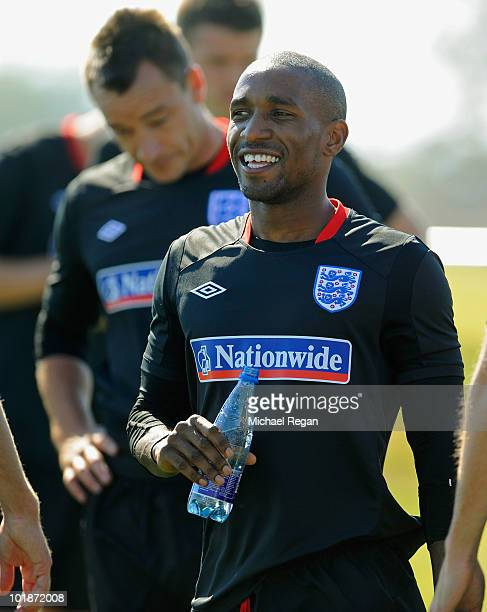 Jermain Defoe smiles during the England training session at the Royal Bafokeng Sports Campus on June 8 2010 in Rustenburg South Africa