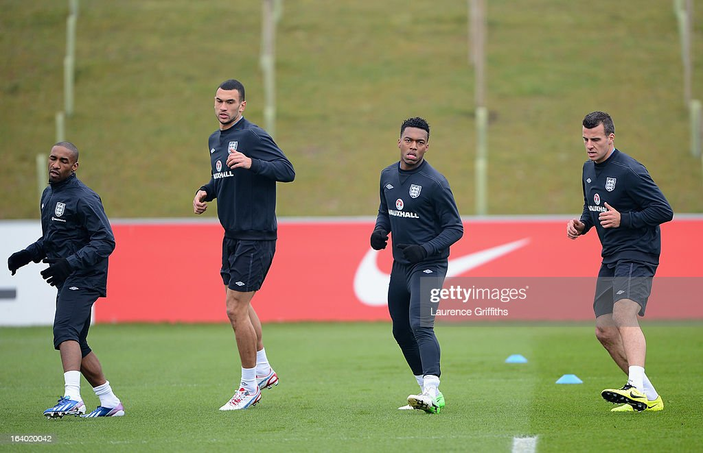 Jermain Defoe, Steven Caulker, Daniel Sturridge and Steven Taylor in action during a training session at St Georges Park on March 19, 2013 in Burton-upon-Trent, England.