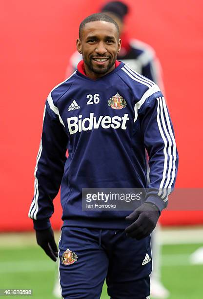 Jermain Defoe takes part in a training session after signing for Sunderland AFC at the Academy of Light on January 15 2015 in Sunderland England