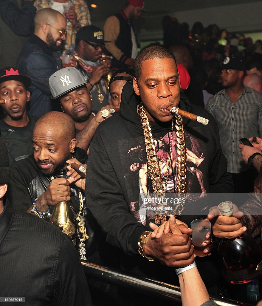 Jermain Dupri and Jay-Z attend the So So Def anniversary party hosted by Jay Z at Compound on February 23, 2013 in Atlanta, Georgia.