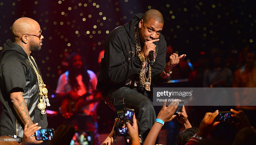 Jermain Dupri and Jay-Z perform at the So So Def 20th anniversary concert at the Fox Theater on February 23, 2013 in Atlanta, Georgia.