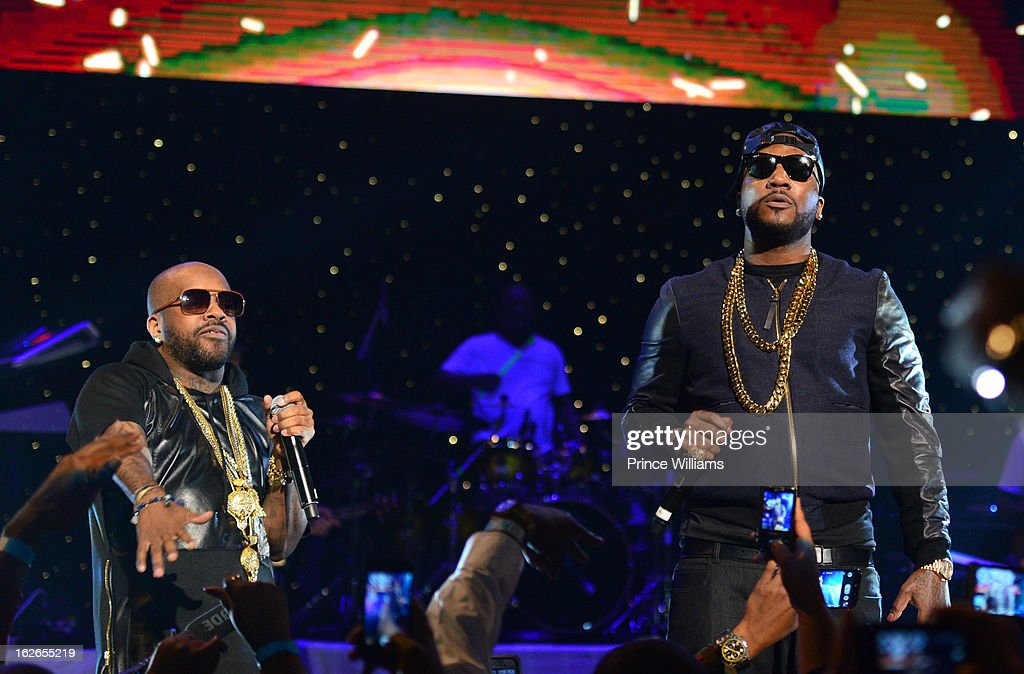 Jermain Dupri and Young Jeezy attends the So So Def 20th anniversary concert at the Fox Theater on February 23, 2013 in Atlanta, Georgia.